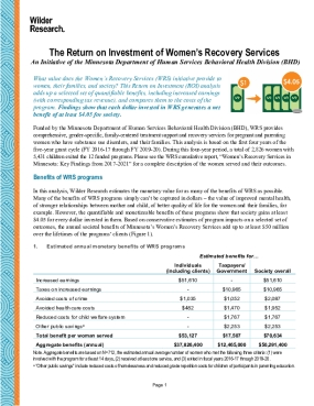 The Return on Investment of Women's Recovery Services